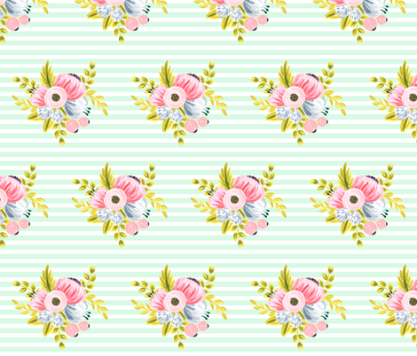Horizontal stripe floral - light mint fabric by ajoyfulriot on Spoonflower - custom fabric