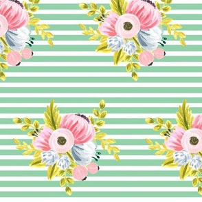 Horizontal stripe floral - light green