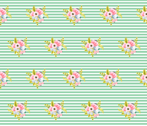 Horizontal stripe floral - light green small fabric by ajoyfulriot on Spoonflower - custom fabric