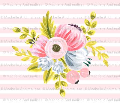 Horizontal stripe floral - light pink