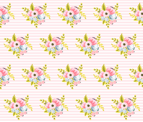Horizontal stripe floral - light pink fabric by ajoyfulriot on Spoonflower - custom fabric