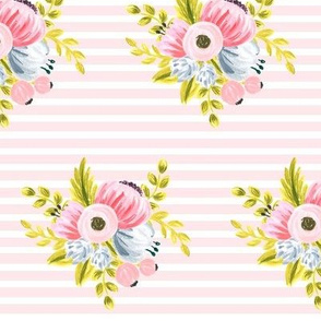 Horizontal stripe floral - light pink