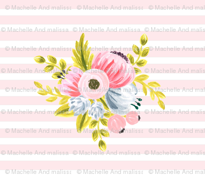 Horizontal stripe floral - light pink small