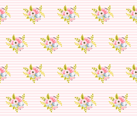 Horizontal stripe floral - light pink small fabric by ajoyfulriot on Spoonflower - custom fabric