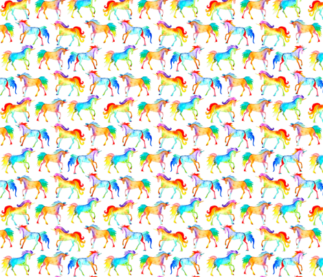 Rainbow Watercolour Unicorns fabric by emmaallardsmith on Spoonflower - custom fabric