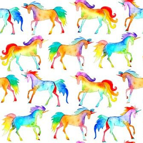 Rainbow Watercolour Unicorns