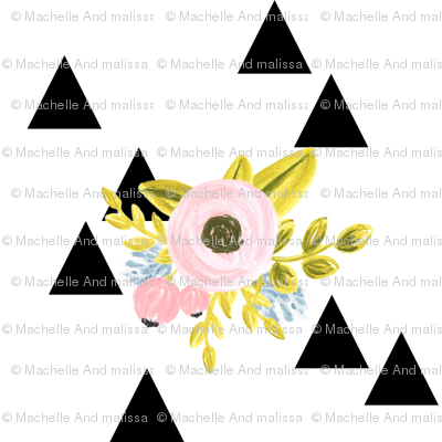 Floral triangles - black