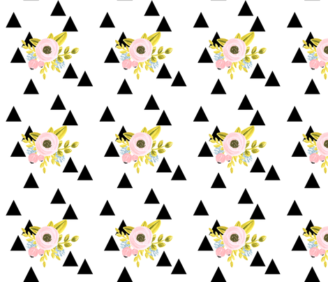 Floral triangles - black fabric by ajoyfulriot on Spoonflower - custom fabric