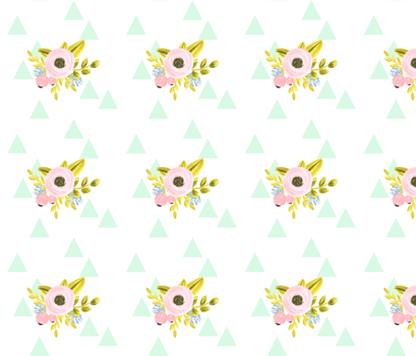 flower triangles - mint fabric by ajoyfulriot on Spoonflower - custom fabric