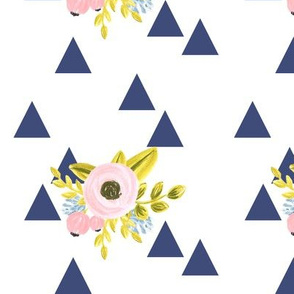 flower triangles - navy