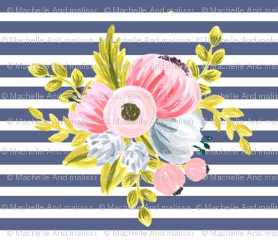 Horizontal stripe floral - navy