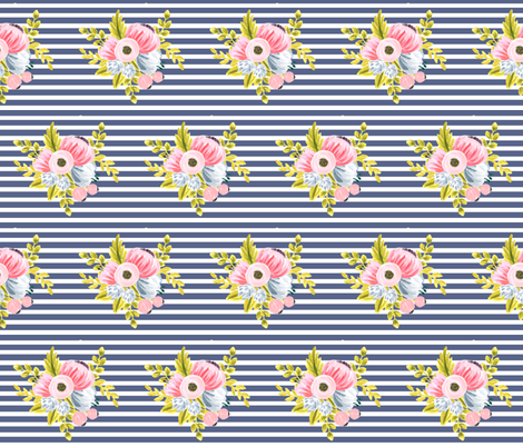 Horizontal stripe floral - navy fabric by ajoyfulriot on Spoonflower - custom fabric