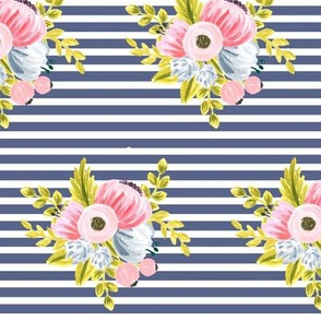 Horizontal stripe floral - navy