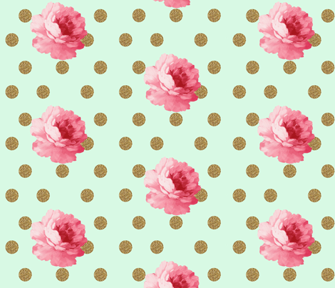 Flower and gold dot - mint fabric by ajoyfulriot on Spoonflower - custom fabric