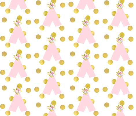 floral teepee and gold dots fabric by ajoyfulriot on Spoonflower - custom fabric