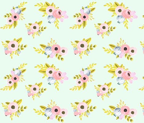 floral pattern light mint fabric ajoyfulriot spoonflower