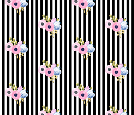 small bouquet on vertical stripes - black fabric by ajoyfulriot on Spoonflower - custom fabric