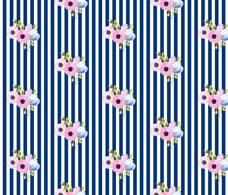 small bouquet on vertical stripes - navy fabric by ajoyfulriot on Spoonflower - custom fabric