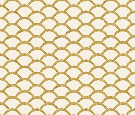 Faux Gold Glitter Scallop, Cream fabric by pearl&phire on Spoonflower - custom fabric