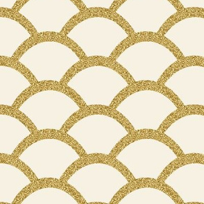 Faux Gold Glitter Scallop, Cream
