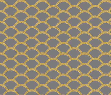 Faux Gold Glitter Scallop, Titanium Gray fabric by pearl&phire on Spoonflower - custom fabric