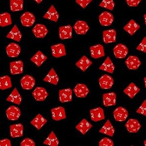 Dice red on black small
