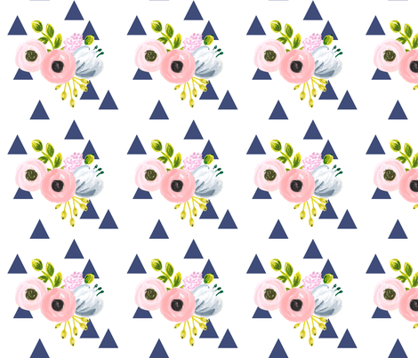 floral triangles - navy fabric by ajoyfulriot on Spoonflower - custom fabric