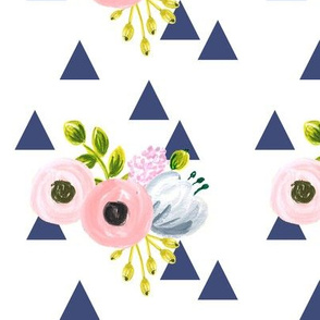 floral triangles - navy