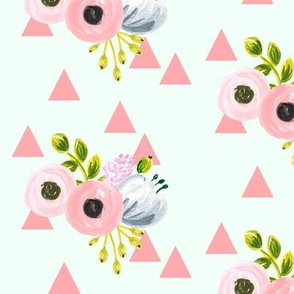 triangle bouquet - pink and mint