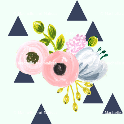 Floral triangles - navy and mint