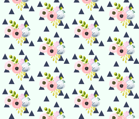 Floral triangles - navy and mint fabric by ajoyfulriot on Spoonflower - custom fabric