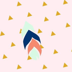 Feather triangles - mint, coral, navy on pink