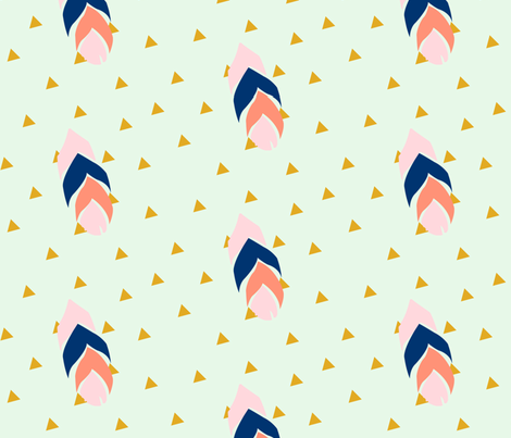 Feather triangles - pink, coral, navy on mint fabric by ajoyfulriot on Spoonflower - custom fabric