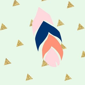 feather triangles - pink, coral, navy on mint