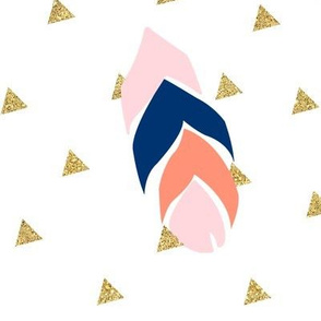Feather triangles - pink, navy, coral and gold