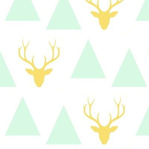 triangle deer head - mint and yellow