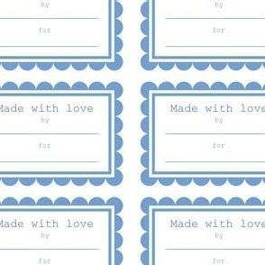 Made with love tags - blue