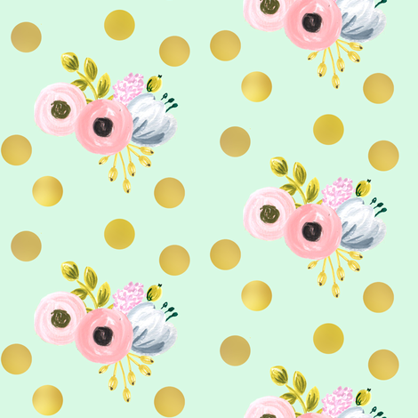 gold dotted bouquet on mint fabric by ajoyfulriot on Spoonflower - custom fabric