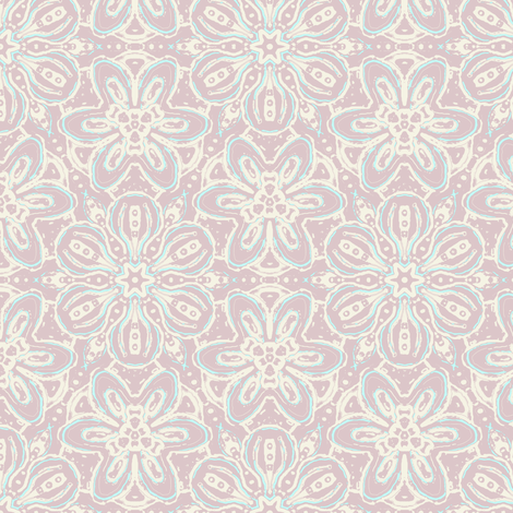 Custom Floating Soft Flowers, Darker Lavender fabric by eclectic_house on Spoonflower - custom fabric