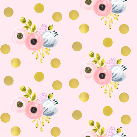 gold dotted bouquet on pink fabric by ajoyfulriot on Spoonflower - custom fabric