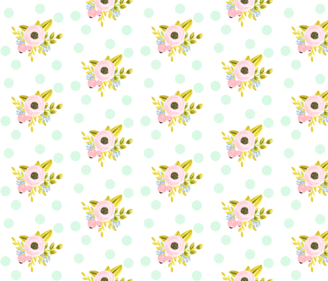 mint dotted bouquet fabric by ajoyfulriot on Spoonflower - custom fabric