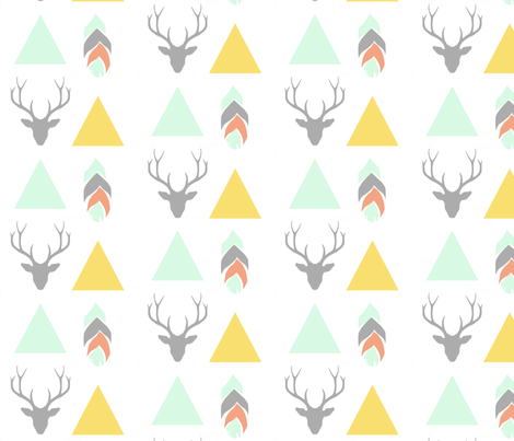 deer head, triangles & feather  fabric by ajoyfulriot on Spoonflower - custom fabric