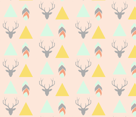 deer head, triangles & feather - pink fabric by ajoyfulriot on Spoonflower - custom fabric