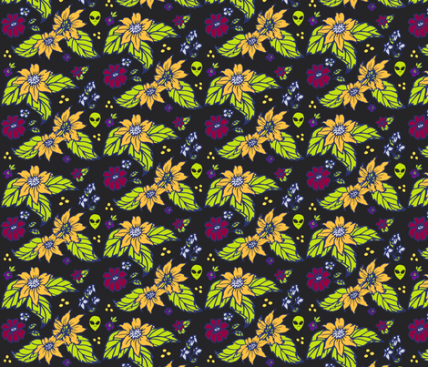 Spot the alien giftwrap katesbeads spoonflower for Alien print fabric