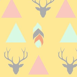 deer head, arrows and feathers - yellow