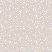 Baby Scribble Moon and Stars White on Neutral Beige