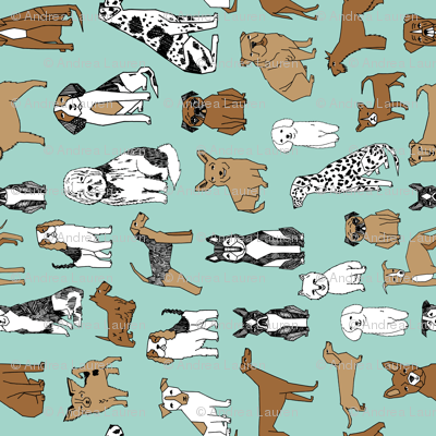 Happy Dogs - Pale Turquoise (Railroad) by Andrea Lauren