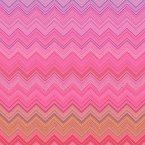 DREAM OF A ORANGE PINK SEA GARDEN Chevrons