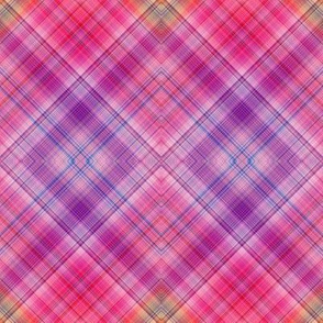 DREAM OF A ORANGE PINK SEA GARDEN Diagonal plaid 3