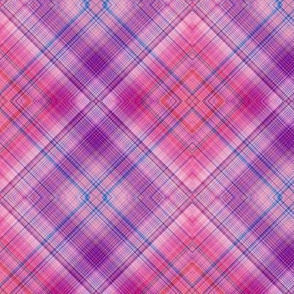 DREAM OF A ORANGE PINK SEA GARDEN Diagonal Diamond Plaid 2